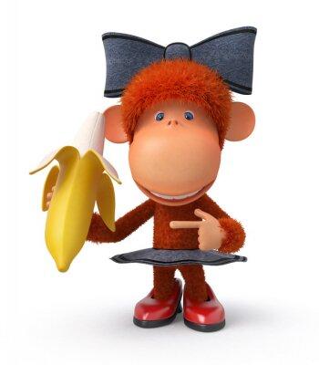 Наклейка маленькая обезьянка с бананом
