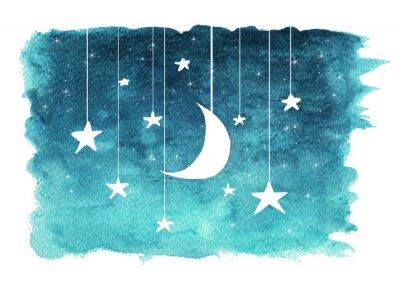Наклейка Луна и звезды, висит от строк, окрашенных в акварель на белом фоне изолированные, фон ночного неба