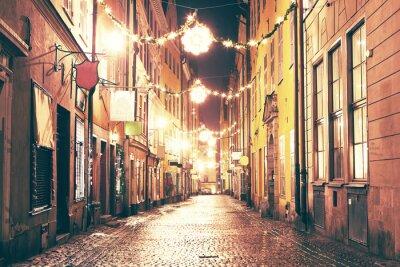 Наклейка Ночь улица в Гамла Стан, Стокгольм.