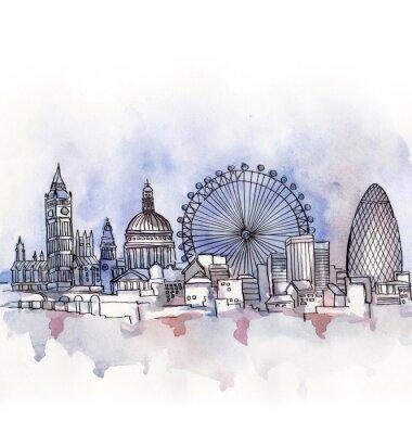 Наклейка панорамный вид на Лондон акварель страны Европейского союза, изолированных на белом фоне