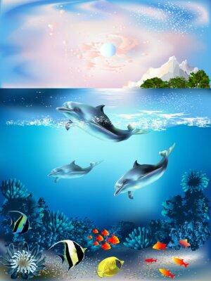 Наклейка Подводный мир с дельфинами и растений