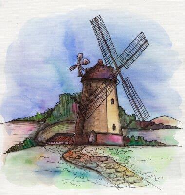 Наклейка акварель рисованной мельница в Голландии