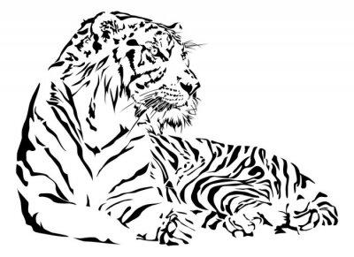 Наклейка Тигр черно-белый