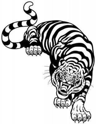 Наклейка тигр черный белый