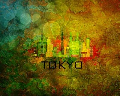 Наклейка Tokyo City Skyline на фоне гранж Иллюстрация