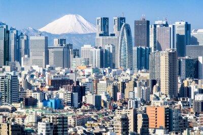 Наклейка Токио зимой с Фудзиямы в фоновом режиме