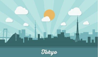 Наклейка Токио горизонт - плоская конструкция