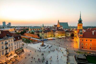 Наклейка Вид сверху на старый город в Варшаве