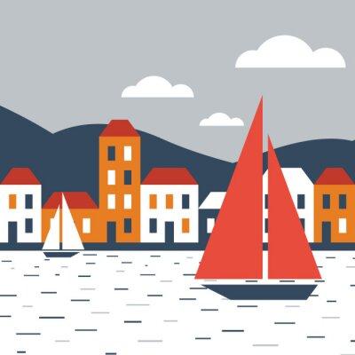 Наклейка Город у моря