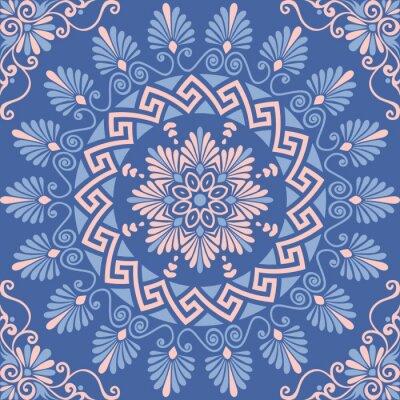 Наклейка Традиционные бесшовных старинные розовый, белый и синий круглый цветочный греческий орнамент, меандр