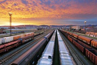Наклейка Товарный поезд - Грузовые железнодорожные промышленность