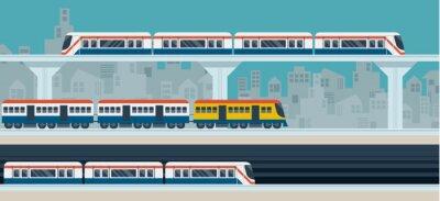 Наклейка Поезд, Sky Train, Метро, иллюстрации Значки объектов