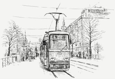 Наклейка трамвайных в большом городе
