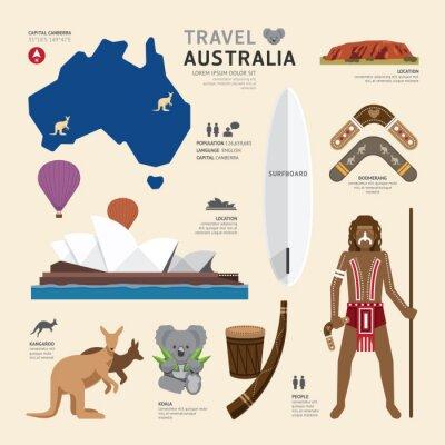 Наклейка Концепция путешествий Австралия Landmark Плоские Иконки Дизайн .Vector Illu