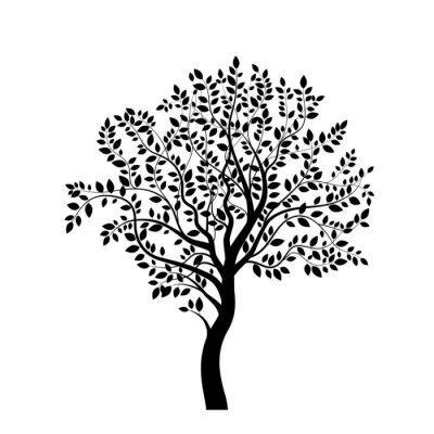Наклейка Tree black silhouette isolated on white