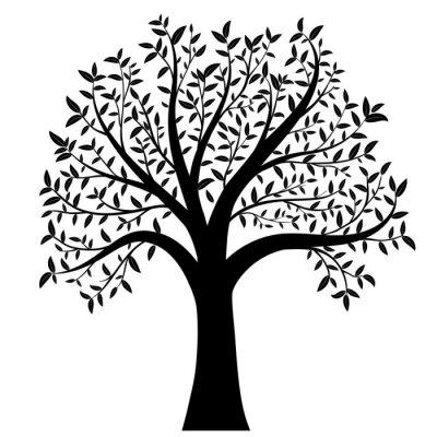 Наклейка дерево с листьями вектор