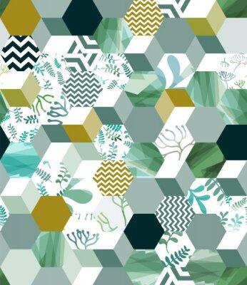 Наклейка Модный бесшовный фон с шестиугольными плитами в зеленом, eps10