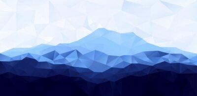 Наклейка Треугольник низкополигональная многоугольник геометрический фон с синим горы