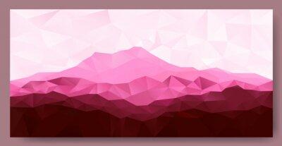 Наклейка Треугольник низкополигональная многоугольник геометрический фон с розовыми горы