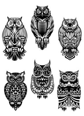 Наклейка Tribal owl birds set