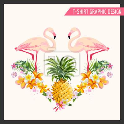 Наклейка Тропические цветы и Фламинго Графический дизайн - для футболки, мода