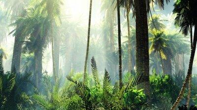 Наклейка Тропические джунгли в тумане. Пальмы по утрам.