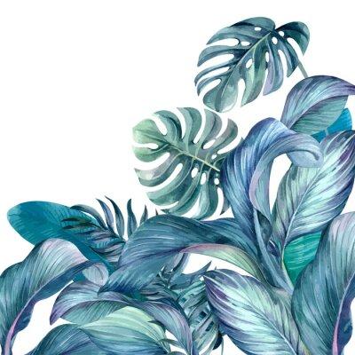 Наклейка Tropical leaves background