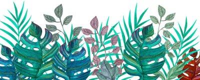 Наклейка Tropical leaves. Watercolor drawing. Green color.