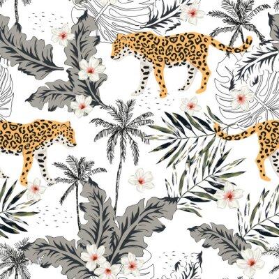 Наклейка Животные тропического леопарда, цветы plumeria, пальмовые листья, деревья, белый фон. Вектор бесшовные модели Графическая иллюстрация. Летом пляж цветочный дизайн. Экзотические растения джунглей. Райс