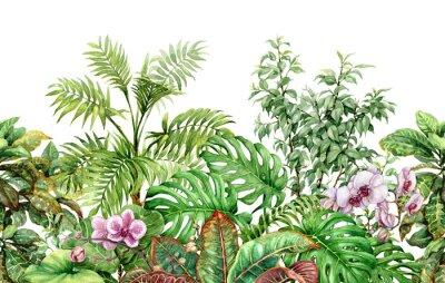 Наклейка Линия тропических растений бесшовные модели