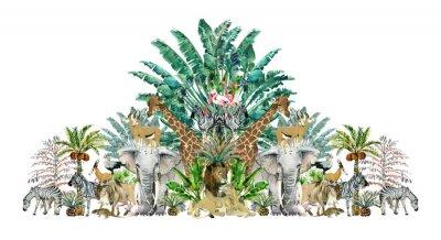 Наклейка Tropical vintage botanical island. Watercolor border with safari animals and palm trees. Exotic jungle wallpaper.