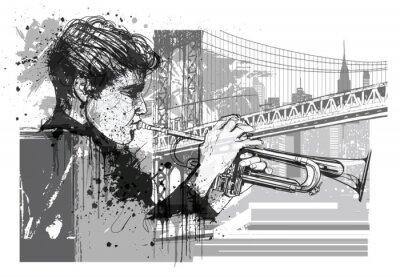 Наклейка Трубач в Нью-Йорке (Бруклин)