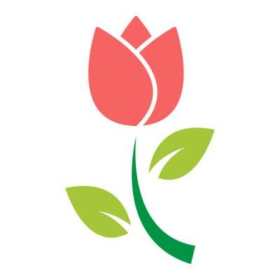 Наклейка тюльпан цветок значок вектор