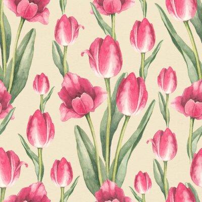 Наклейка Тюльпан цветы иллюстрации. Акварельный бесшовный фон