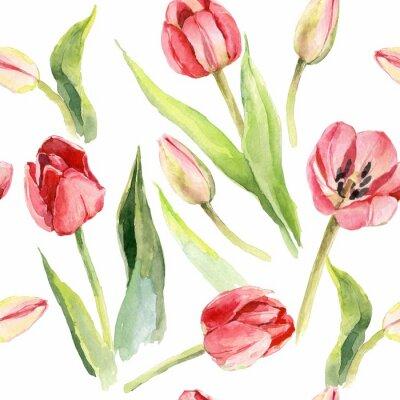 Наклейка тюльпаны цветок акварель рисунок иллюстрация текстильная печать