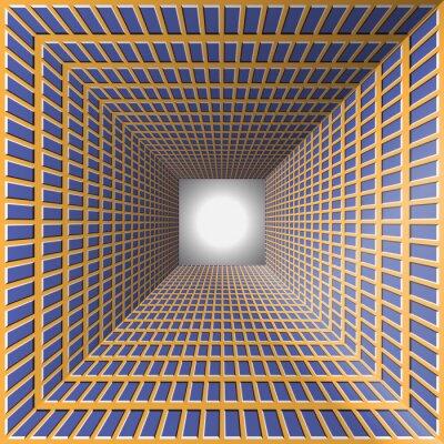 Наклейка Туннель с клетчатыми стенами. Абстрактный фон с оптической иллюзии движения.