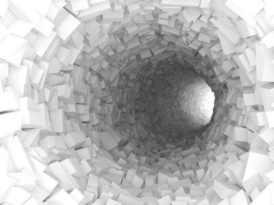 Наклейка Туннель со стенами из хаотического блоков 3d