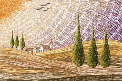 Наклейка Тоскана пейзаж - цифровая концепция живописи