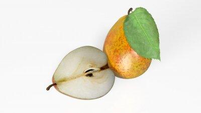Наклейка Две груши, один нарезанные пополам, фрукты на белом фоне