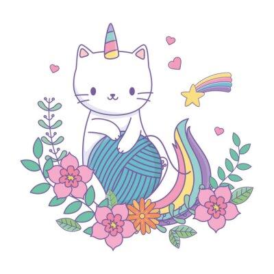 Наклейка Unicorn cat cartoon vector design