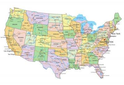Наклейка Соединенные Штаты Америки - очень подробные редактируемые политическая карта с маркировкой.