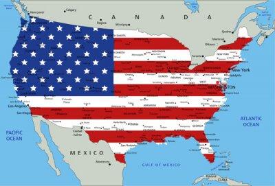 Наклейка Соединенные Штаты Америки высоко подробная политическая карта с национальным флагом.