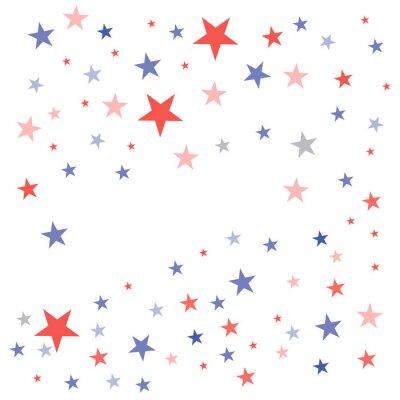 Наклейка Соединенные Штаты Патриотический фон в цветах флагов с увядшими тусклыми звездами, разбросанными на белом фоне