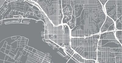 Наклейка Городская векторная карта города Сан-Диего, Калифорния, Соединенные Штаты Америки