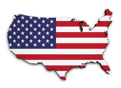 Наклейка Флаг США Map 3D Shape