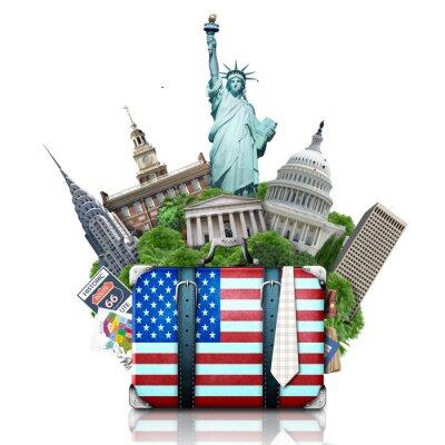 Наклейка США, Соединенные Штаты ориентиры чемодан, и Нью-Йорк