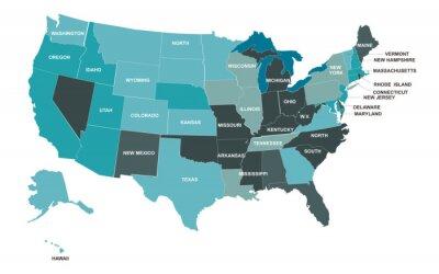 Наклейка USA map. American map. United States of America map in flat