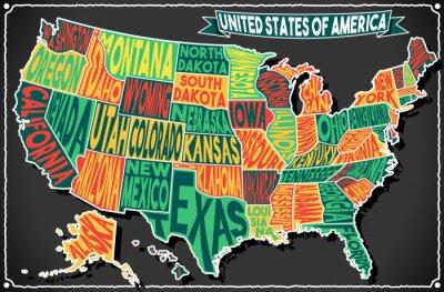 Наклейка США Карта Винтаж Доска 2D