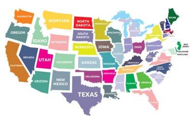 Наклейка США карта с государствами