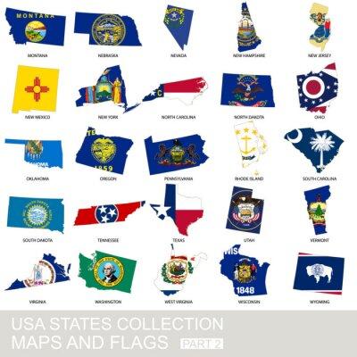 Наклейка США Государственная коллекция, карты и флаги